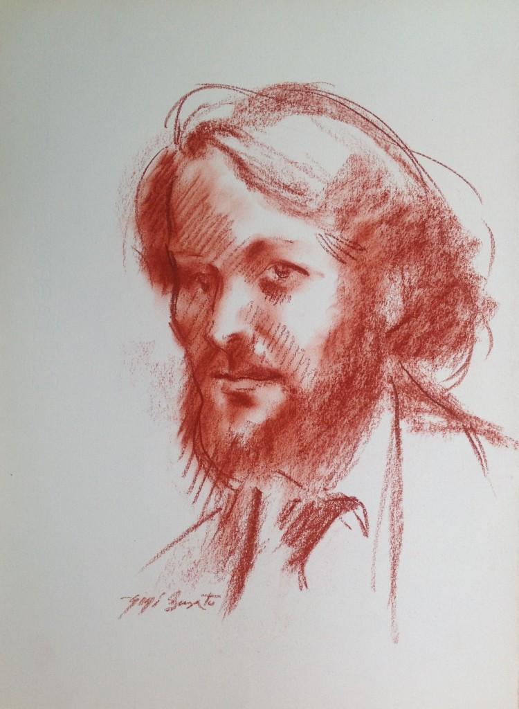 Autoritratto di Gigi Busato disegno a sanguigna su carta collezione di famiglia