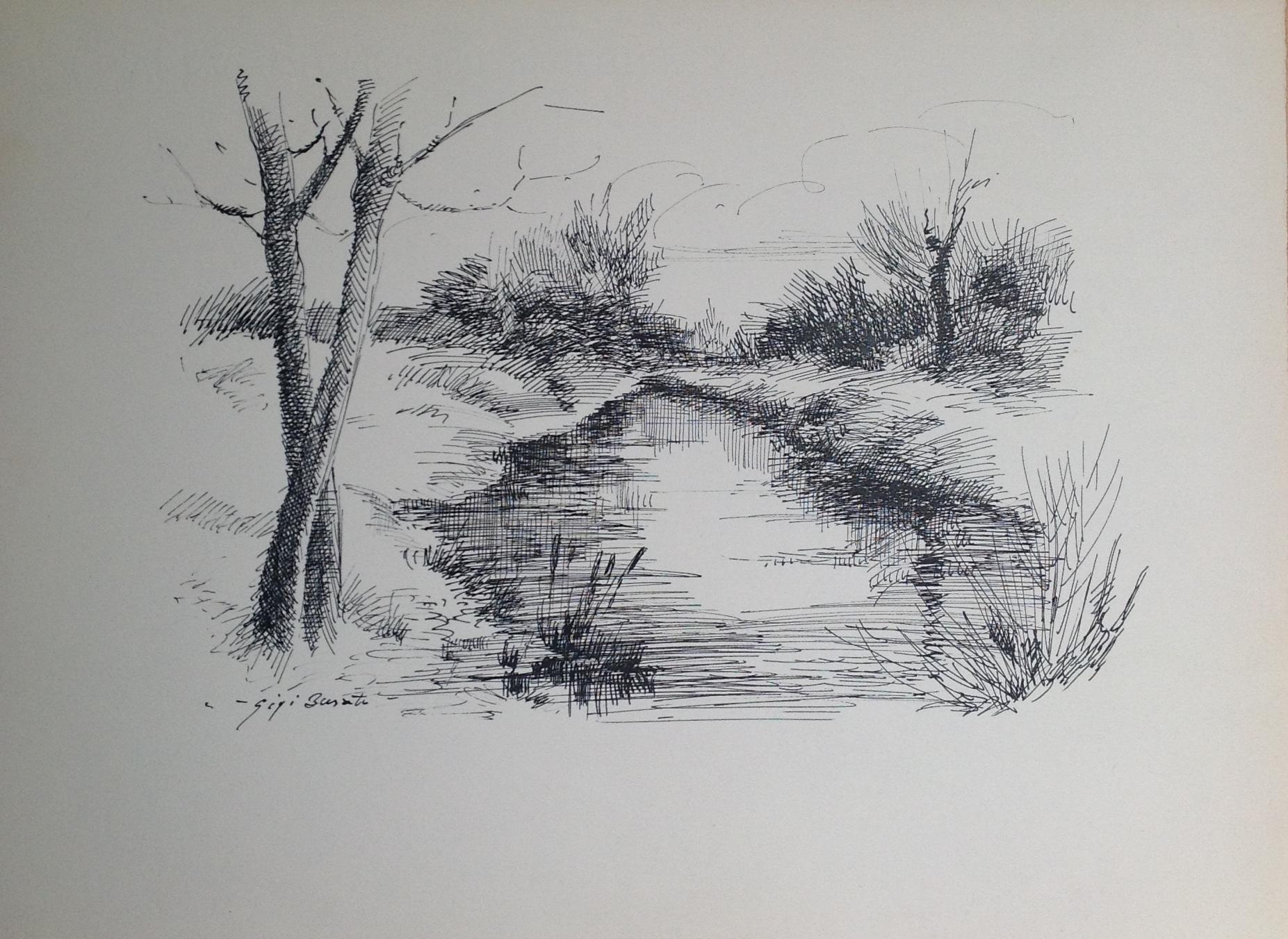 Busato, disegno a penna su carta bianco e nero. collezione di famiglia
