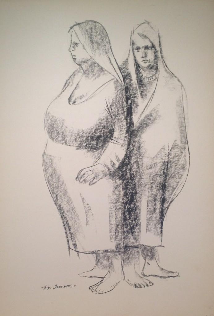 Massaiea, due donne contadine di Gigi Busato. Disegno a carboncino su carta in bianco e nero, collezione di famiglia
