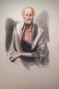 Erudito, opera di Gigi Busato, uomo in posa. Disegno pastello su carta a colori, collezione di famiglia