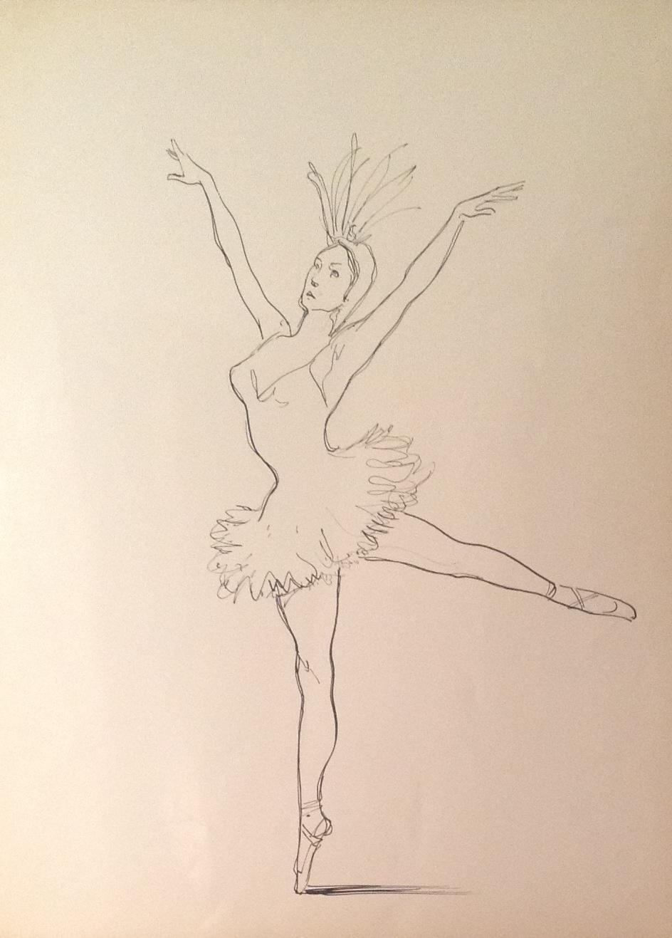 del pavone, donna con il tutù ce danza con piume e cappello. Disegno ...