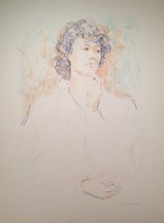 Pensandoci bene di Gigi Busato. Disegno a pastello su carta a colori di una donna pensierosa , collezione di famiglia