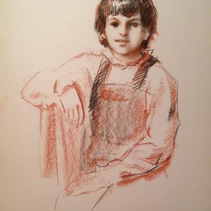 Vivace di Gigi Busato. Ritratto di giovane bambino. Disegno pastello su carta, collezione di famiglia