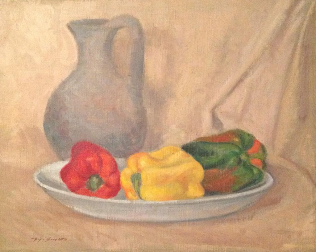 Peperoni di Gigi Busato. Pittura olio su tela, caraffa con dei peperoni nel piattino, collezione di famiglia