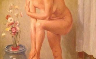 Donna in posa di Gigi Busato. Nudo con fiori, pittura olio su tela. Collezione di famiglia