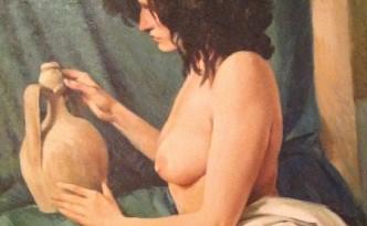 Immaginazione di Gigi Busato. Donna nuda in posa. Pittura olio su tela, collezione di famiglia
