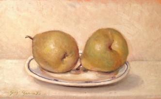 Piattino con le pere, di Gigi Busato.Natura morta olio su tavola, collezione di famiglia