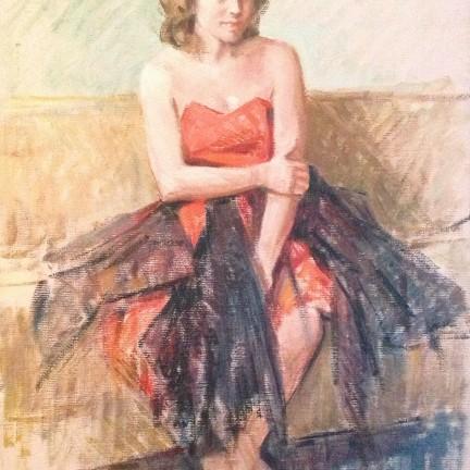 Tentativi, di Gigi Busato donna seduta con la tutta da danza. Olio su tela collezione di famiglia