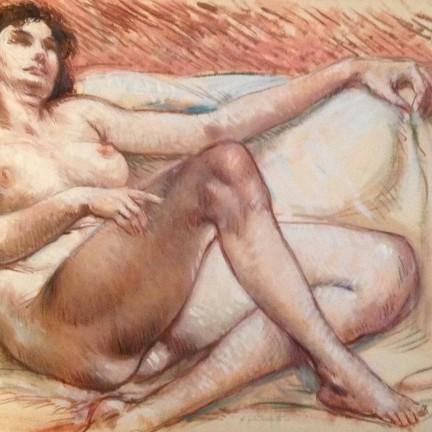 Distesa, di Gigi Busato. Donna nuda in posa distesa. Pittura olio su tavola, collezione di famiglia
