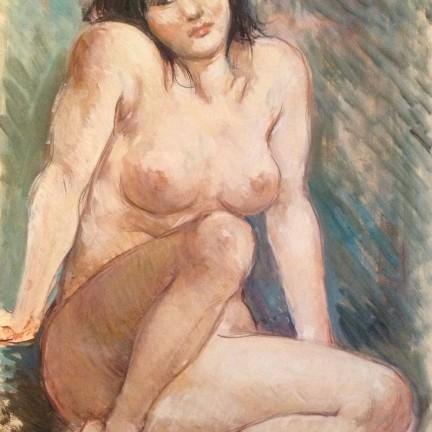 Ines, di Gigi Busato. Donna nuda in posa seduta in terra. Pittura olio su tavola, collezione di famiglia