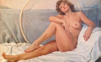 Bea, di Gigi Busato. Donna nuda in posa distesa, Pittura olio su tela, collezione di famiglia