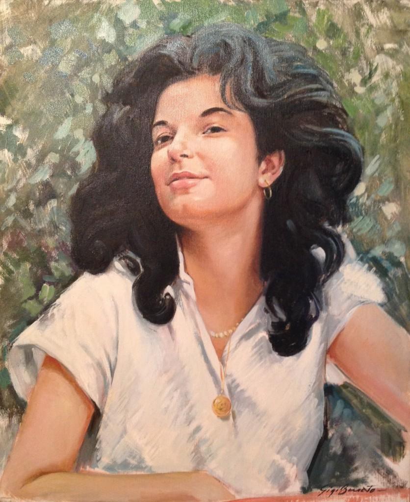 Ragazza persiana di Gigi Busato. Pittura olio su tela, ritratto di giovane ragazza con i capelli al vento. Collezione di famiglia.