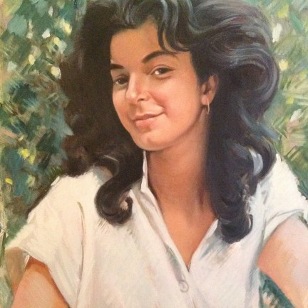 Ragazza persiana di Gigi Busato. Pittura olio su tela, ritratti di giovane ragazza con i capelli al vento. Collezione di famiglia.