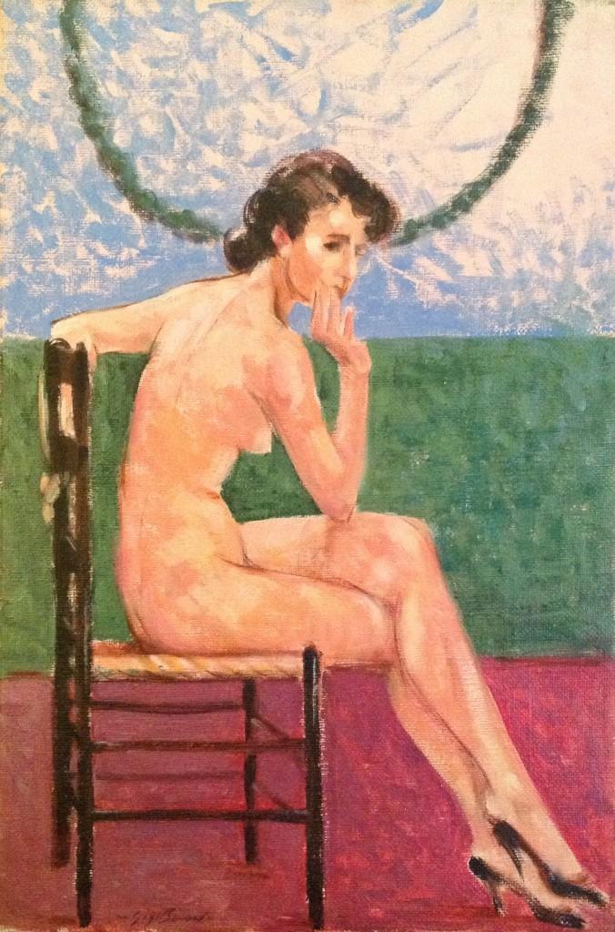 Tacco e posa di Gigi Busato. Pittura olio su tela, nudo di donna seduta su una sedia. Collezione di famiglia.