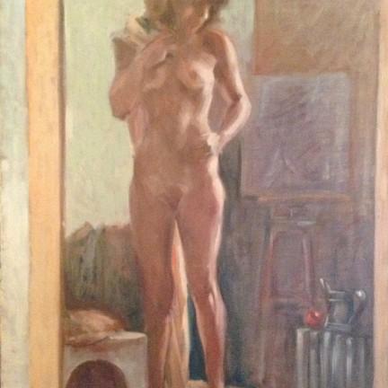 Sola nella stanza di Gigi Busato. Pittura olio su tela, donna nuda in piedi in posa davanti ad uno specchio. Collezione di famiglia.