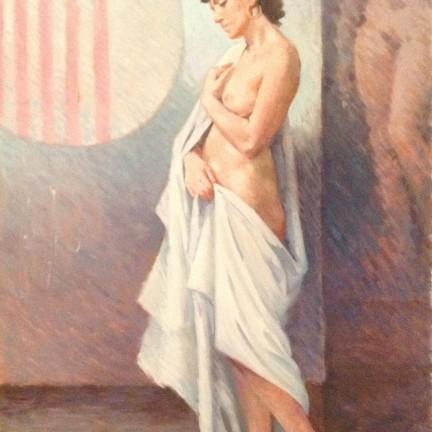 I corpi di Gigi Busato. Pittura olio su tela di donna nuda in posa avvolta da un telo bianco. Collezione di famiglia.