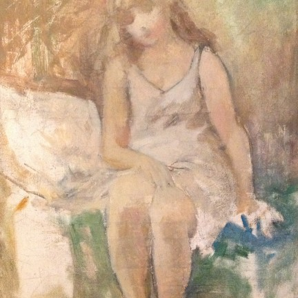 Levar di Gigi Busato. Pittura olio su tela, giovane donna che si alza dal letto. Collezione di famiglia.
