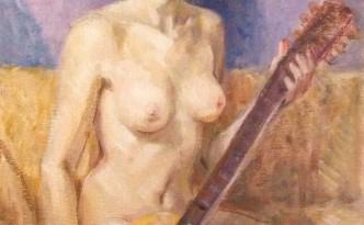 Posa di Gigi Busato. Pittura olio su tela di donna nuda in posa seduta con una chitarra. Collezione di famiglia