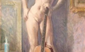 Posa di Gigi Busato. Pittura olio su tela di donna nuda in piedi con una chitarra. Collezione di famiglia.