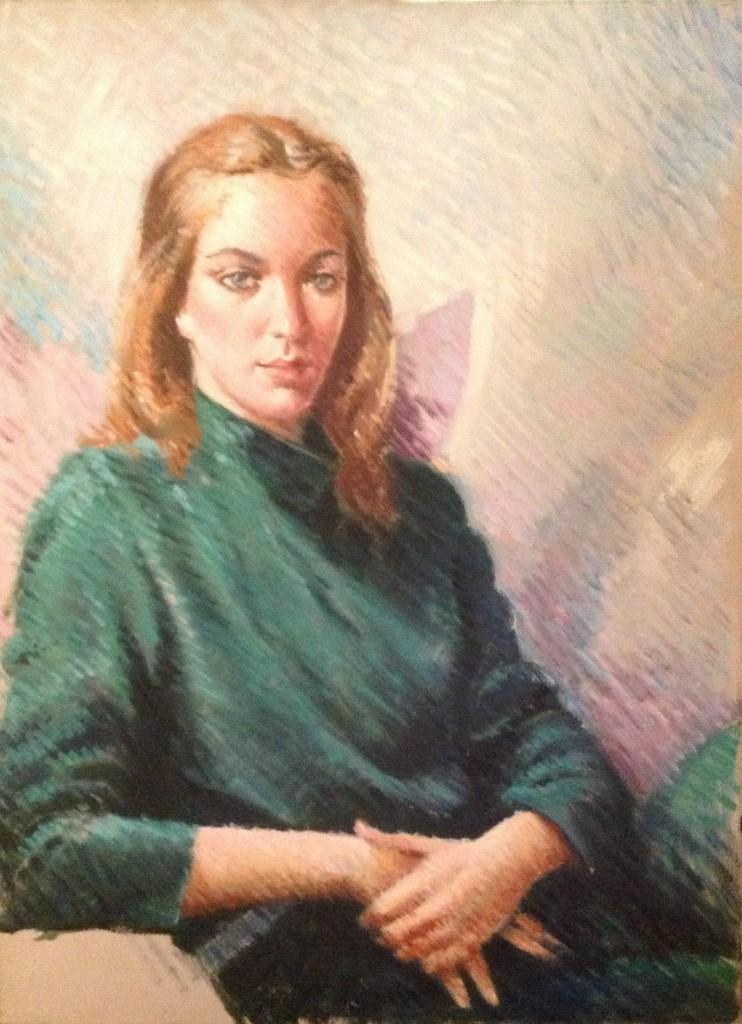 Silenziosa di Gigi Busato. Pittura olio su tela di giovane donna in posa seduta. Collezione di famiglia.