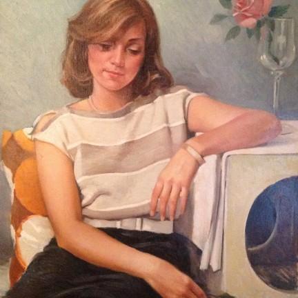 Mansueta di Gigi Busato. Pittura olio su tela di giovane ragazza. Collezione di famiglia.