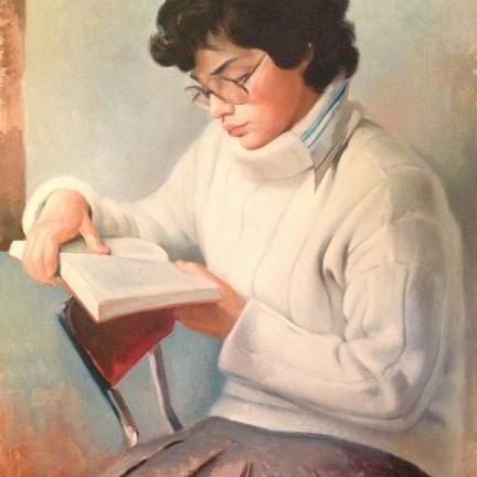 Lettura e pittura di Gigi Busato. Pittura olio su tela di giovane ragazza seduta che legge. Collezione di famiglia.