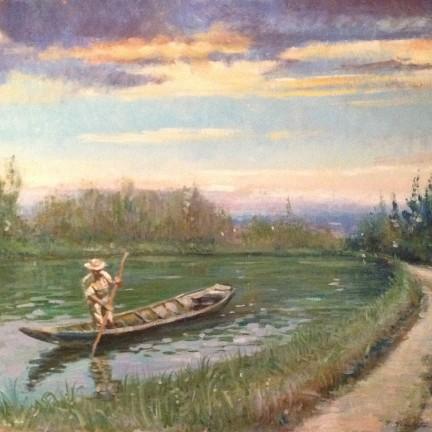 Lento va... di Gigi Busato. Pittura olio su tela, uomo che lento va con la sua barca lungo il fiume al tramonto. Collezione di famiglia.