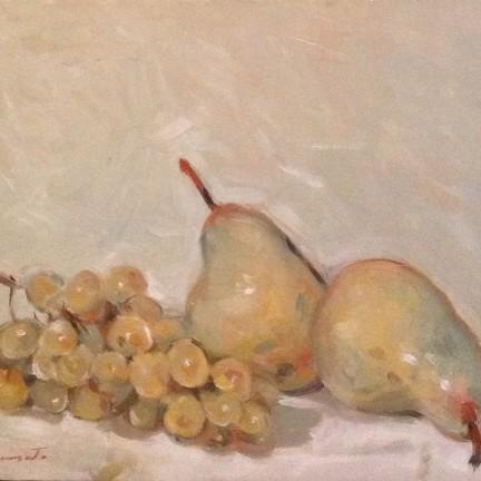 Uva bianca di Gigi Busato. Pittura olio su tela, uva bianca e pere. Collezione di famiglia.
