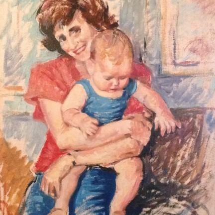 Famiglia di Gigi Busato. Pittura olio su tavola ritratto di donna che abbraccia un bambino. Collezione di famiglia