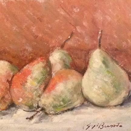 Aspetti e lati di Gigi Busato. Pittura olio su tavola, natura morta pere. Collezione di famiglia.