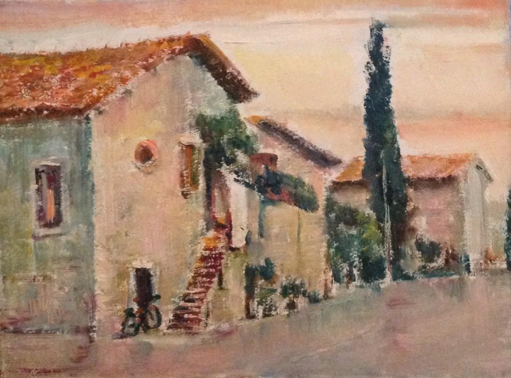 Sosta di Gigi Busato. Pittura olio su tavola, piccolo borgo. Collezione di famiglia.