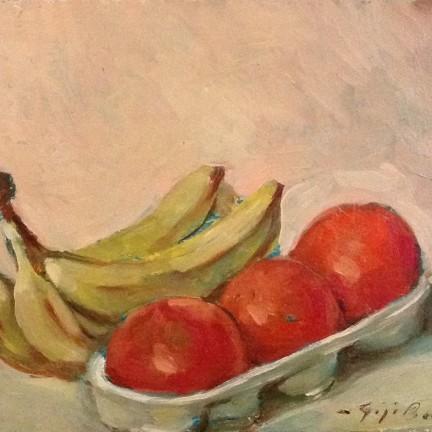 Frutta di Gigi Busato. Pittura olio su tela di frutta, banane. Collezione di famiglia.