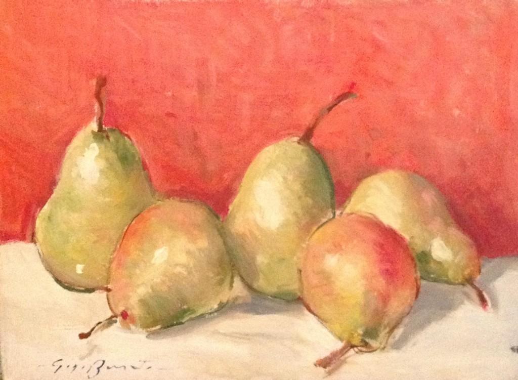 Aspetti e lati di Gigi Busato. Pittura olio su tavola natura morta pere. Collezione di famiglia