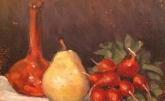 Pera di Gigi Busato. Pittura olio su tela di natura morta. Collezione di famiglia
