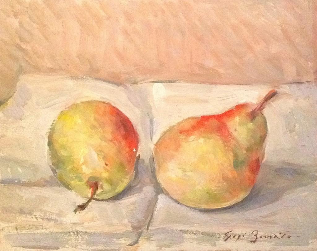 Pere di Gigi Busato. Pittura olio su tavola di due pere. Collezione di famiglia