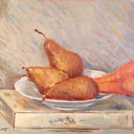 Nel piatto di Gigi Busato. Pittura olio su tavola, pere e carote in un piatto bianco. Collezione di famiglia.