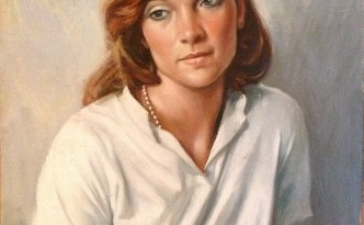 Pensierosa di Gigi Busato. Pittura olio su tavola di giovane ragazza seduta. Collezione di faniglia.