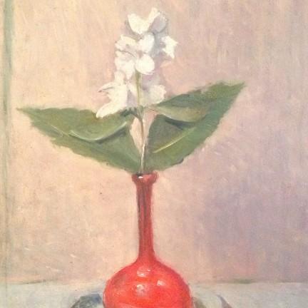 Incantò di Gigi Busato. Pittura olio su tavola, fiore bianco in un vaso rosso. Collezione di famiglia.
