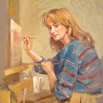 L'allieva di Gigi Busato. Pittura olio su tavola. Giovane ragazza che dipinge, allieva del maestro. Collezione di famiglia.