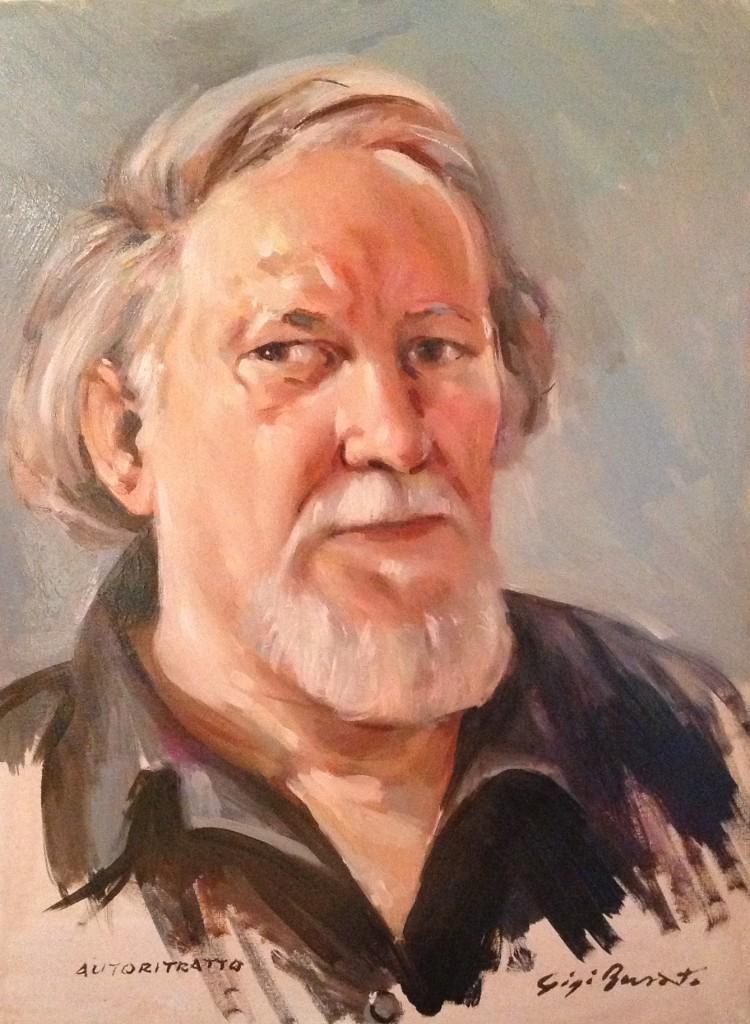 Autoritratto di Gigi Busato. Pittura olio su tela ritratto del maestro. Collezione di famiglia