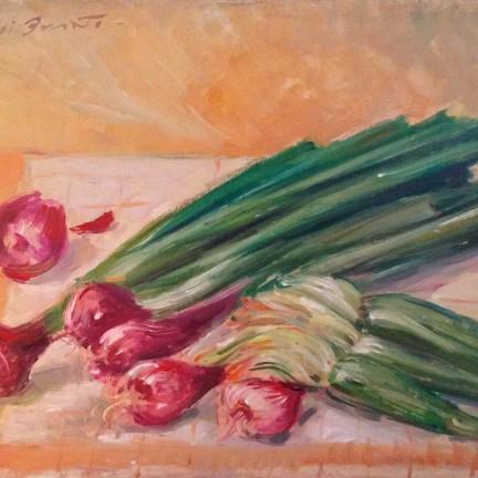 Raccolto di Gigi Busato. Pittura olio su tavola, ravanelli e zucchine. Collezione di famiglia.