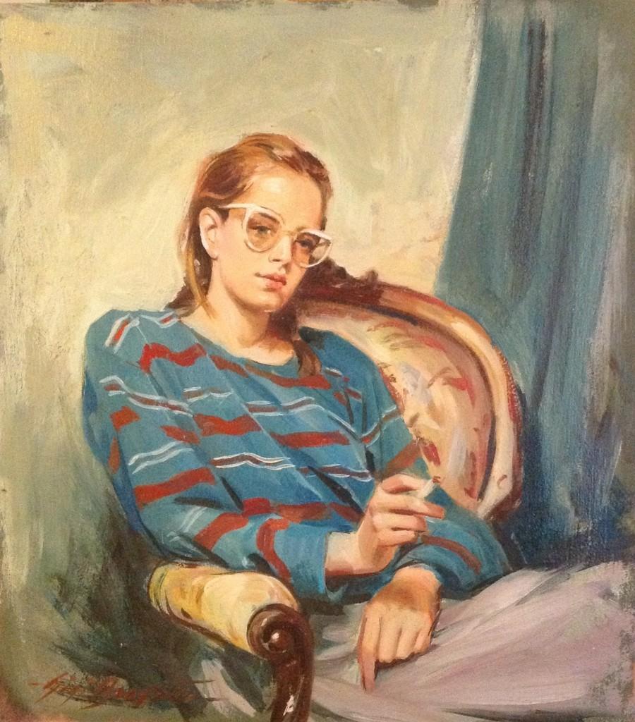 Un tiro di Gigi Busato. Pittura olio su tavola, ragazza seduta che fuma una sigaretta. Collezione di famiglia.