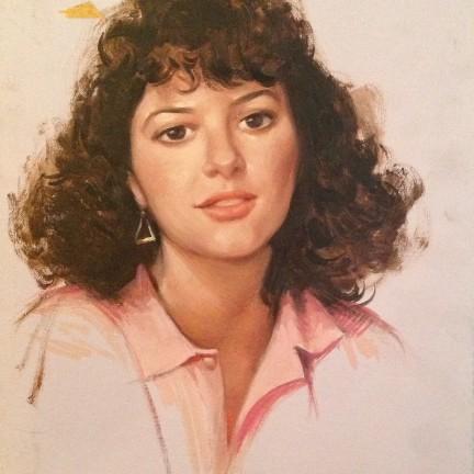 Ritratto di Gigi Busato. Pittura olio su tavola, giovane donna. Collezione di famiglia.