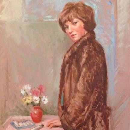 In pelliccia di Gigi Busato. Pittura olio su tavola, donna in pelliccia davanti ad un vaso di fiori. Collezione di famiglia.