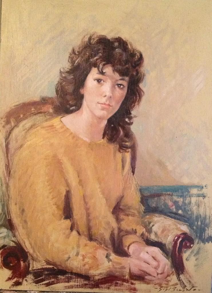 Ritratto di Gigi Busato. Pittura olio su tavola, giovane donna seduta su una poltrona. Collezione di famiglia.