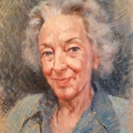 Nonna Livietta di Gigi Busato. Pittura olio su tavolo, ritratto di anziana donna. Collezione di famiglia.