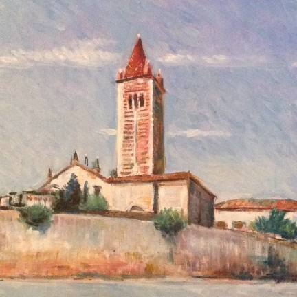Il campanile di Gigi Busato. Pittura olio su tela, chiesa di paese. Collezione di famiglia.