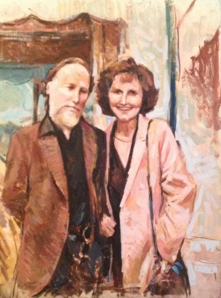 Ritratto di famiglia di Gigi Busato. Pittura olio su tela della coppia. Collezione di famiglia.