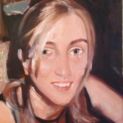Ritratto di Gigi Busato. Pittura olio su tela, ritratto di giovane donna bionda. Collezione di famiglia.