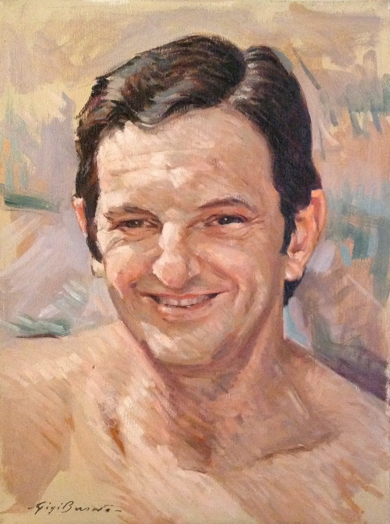 Ritratto di Gigi Busato. Pittura olio su tela, sorriso di un uomo. Collezione di famiglia.